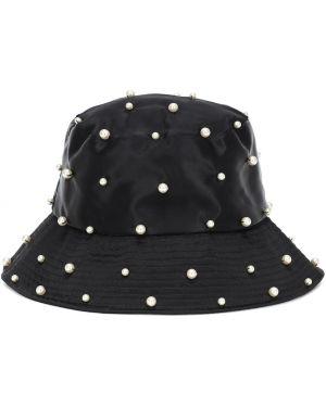 Satynowy czarny kapelusz perły Jennifer Behr
