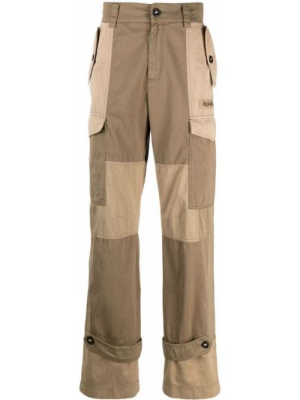 Beżowe spodnie bawełniane z paskiem Palm Angels