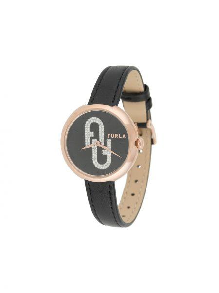 Кожаные часы золотые с пряжкой Furla
