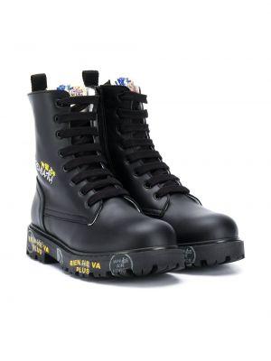 Кожаные черные ботинки на шнуровке с нашивками Premiata Kids
