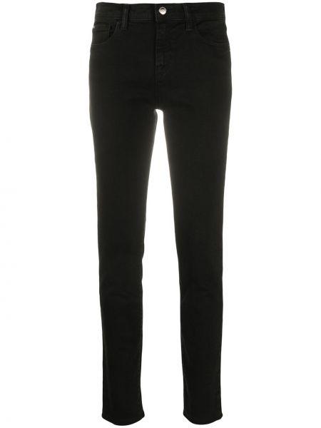 Хлопковые классические черные джинсы-скинни на молнии Emporio Armani