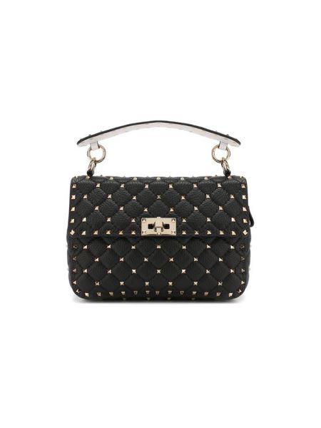 Черная маленькая сумка с шипами металлическая Valentino