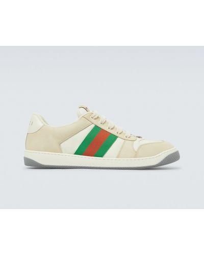 Klasyczny beżowy włókienniczy skórzane sneakersy z paskami Gucci