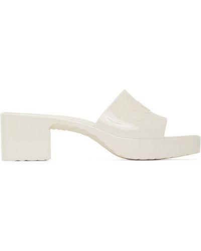 Otwarty biały sandały plac na pięcie Gucci