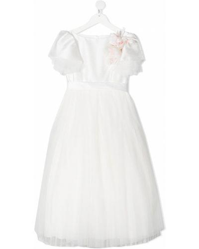 Biała sukienka mini tiulowa krótki rękaw Colorichiari