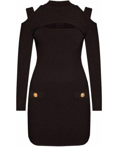 Czarna sukienka midi w paski z długimi rękawami Balmain