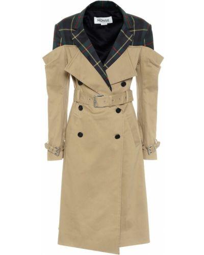 Хлопковое ватное бежевое пальто классическое Monse