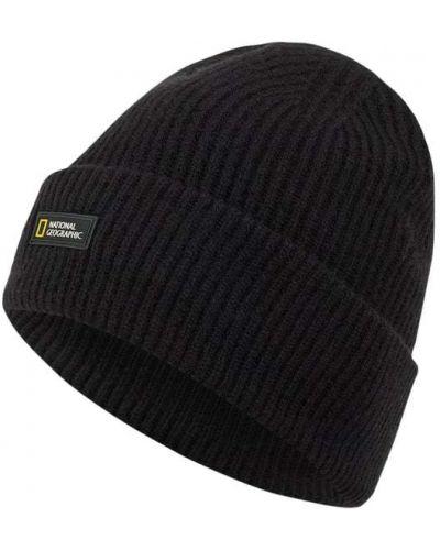 Czarna czapka beanie wełniana prążkowana National Geographic