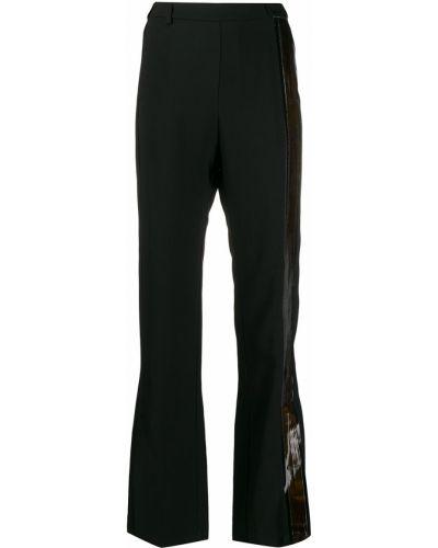 Черные расклешенные брюки с нашивками с поясом Ilaria Nistri