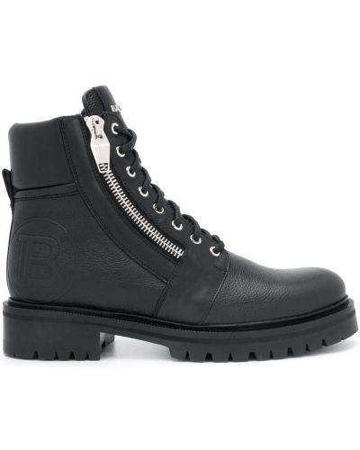 Кожаные черные ботинки на молнии Balmain
