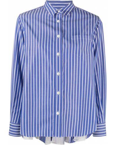 Хлопковая синяя классическая рубашка с длинными рукавами Sacai