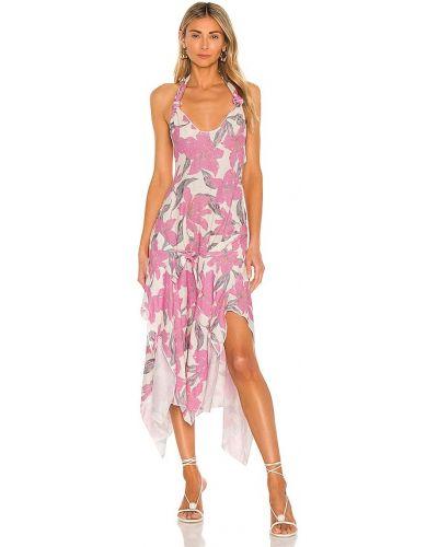 Różowa lniana sukienka asymetryczna Atoir