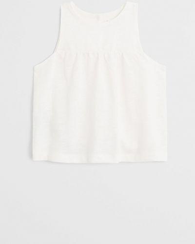 Белая блузка с вырезом круглая Mango Kids