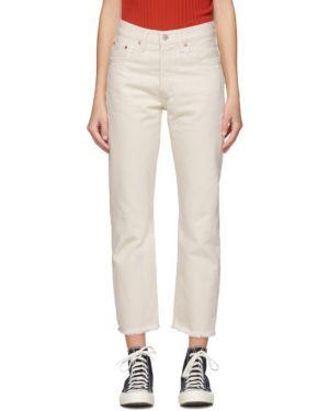 Niebieski skórzany jeansy do kostek z łatami z paskiem Levi's
