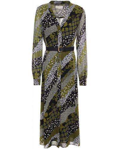 Кожаное зеленое платье миди с поясом Michael Michael Kors
