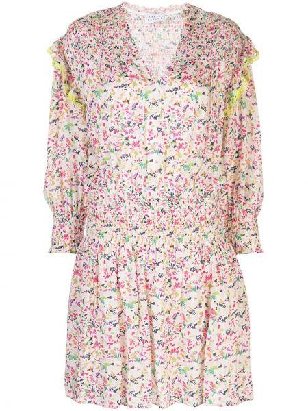 С рукавами расклешенное шелковое платье мини с вырезом Tanya Taylor