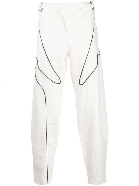 Льняные белые пляжные джинсы с высокой посадкой с пряжкой Vejas