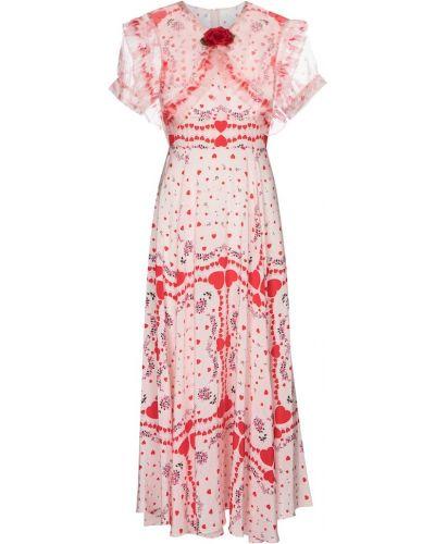 Шелковое розовое платье с воротником Rodarte