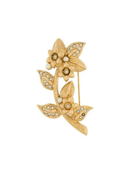 Broszka z perłami srebro Christian Dior Pre-owned