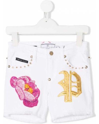 Шорты джинсовые белые Philipp Plein Junior