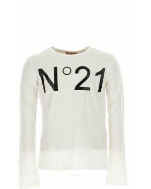 Czarny t-shirt z długimi rękawami bawełniany No. 21