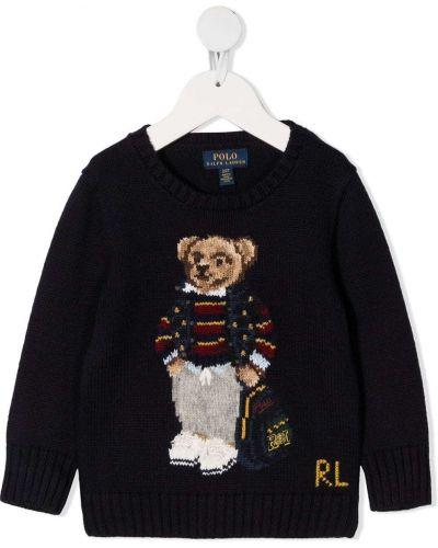 Темно-синий джемпер круглый с длинными рукавами Ralph Lauren Kids