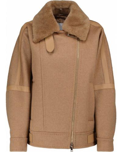 Бежевая кожаная куртка Max Mara