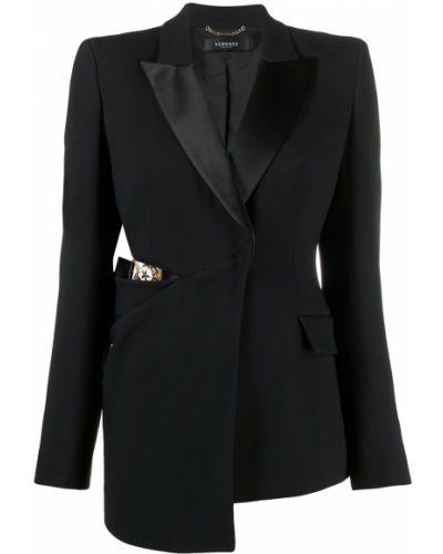 Шелковый черный классический пиджак с лацканами Versace