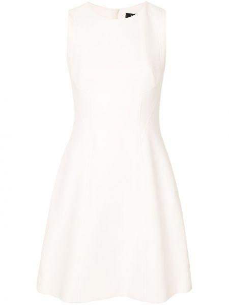 Белое расклешенное платье мини с карманами без рукавов Paule Ka