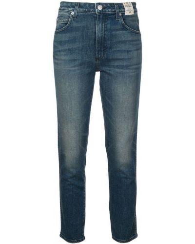 Укороченные джинсы синие на пуговицах Amo