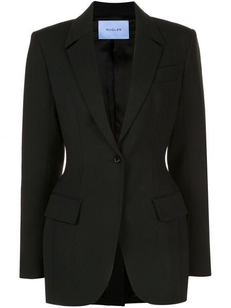 Однобортный черный приталенный пиджак Mugler