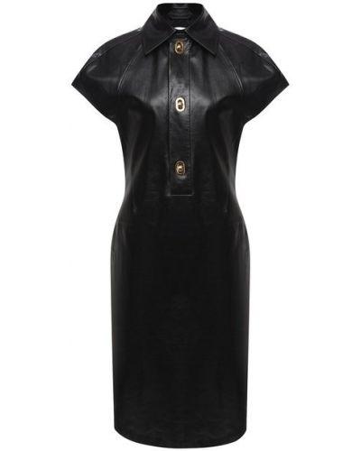 Кожаное платье - черное Bottega Veneta
