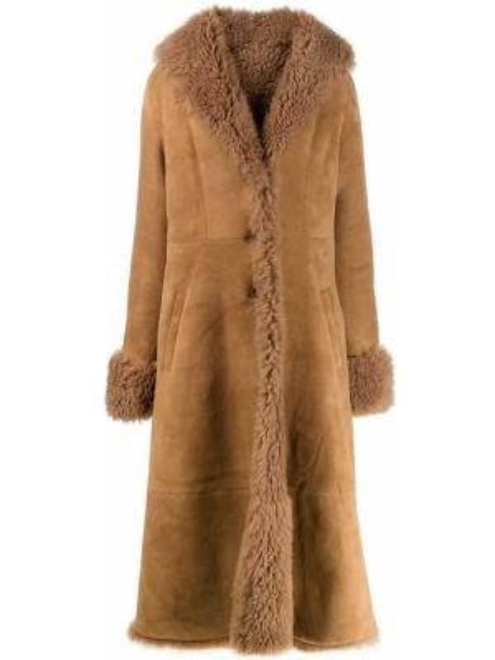 Коричневое расклешенное кожаное пальто на пуговицах с карманами Liska