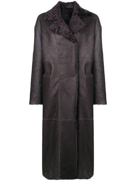 Серое кожаное пальто двустороннее на пуговицах с лацканами S.w.o.r.d 6.6.44