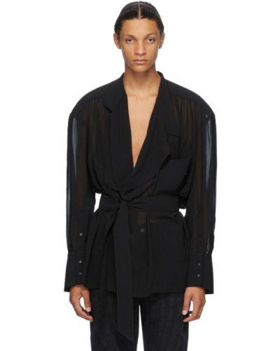 Czarna koszula z długimi rękawami kopertowa Mugler