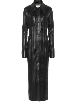 Плиссированное кожаное черное платье-рубашка Nanushka