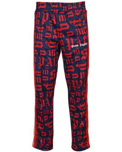 Czerwone spodnie w paski Palm Angels