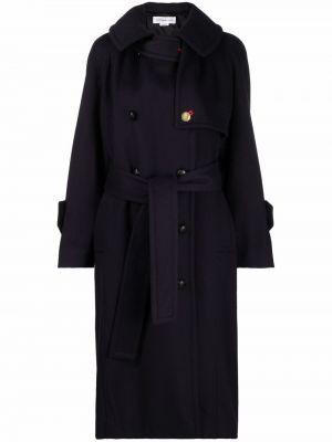Синее длинное пальто Victoria Beckham