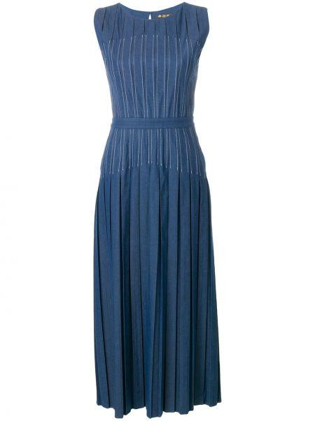 Синее джинсовое платье без рукавов с вырезом Loro Piana