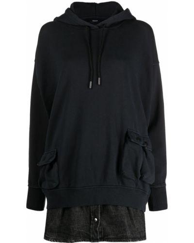 Хлопковое черное платье макси с капюшоном Diesel
