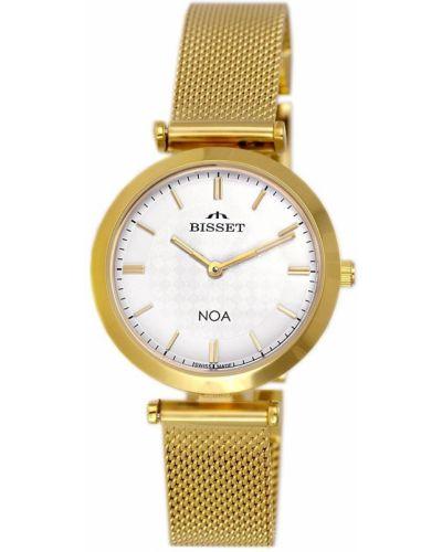 Biały klasyczny złoty szwajcarski zegarek Bisset