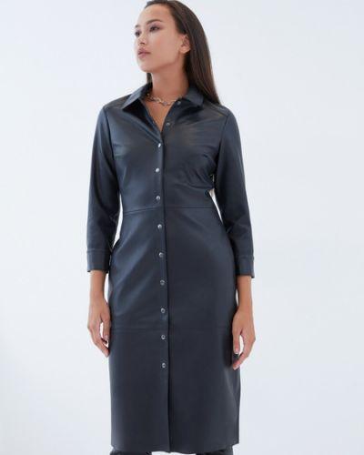 Черное платье-рубашка из искусственной кожи Zarina