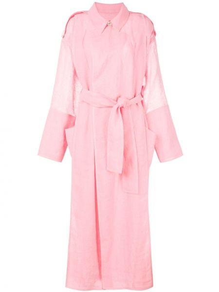 Розовое пальто с воротником с запахом с поясом Maison Rabih Kayrouz