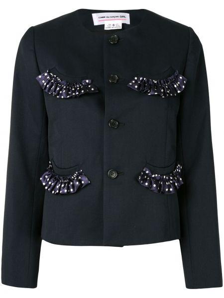 Приталенный синий короткая куртка с карманами Comme Des Garçons Girl