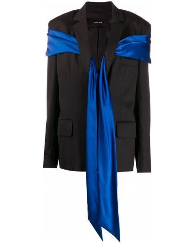 Шерстяной черный пиджак с карманами с лацканами Simone Rocha