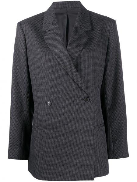 Серый удлиненный пиджак двубортный с карманами Toteme