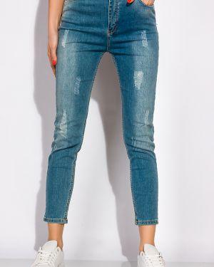 Укороченные джинсы с поясом в стиле бохо Time Of Style