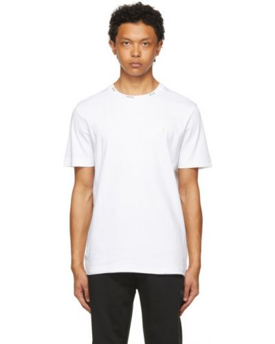 Трикотажная белая футболка с воротником Boss