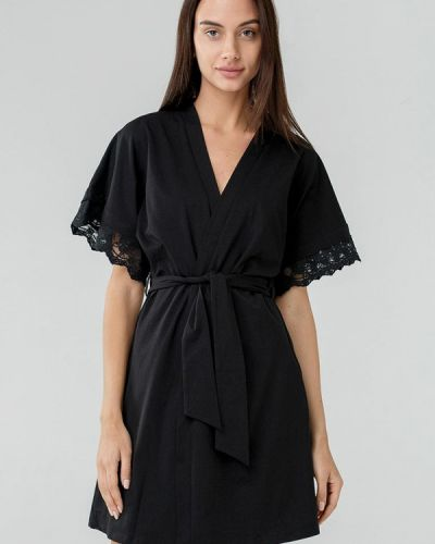 Черный домашний халат Ora