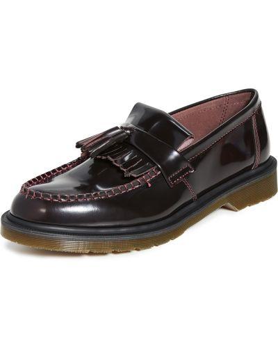 Czerwone prążkowane loafers skorzane Dr. Martens